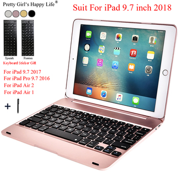For iPad 2018 9.7 Case Keyboard Wireless Bluetooth Slim Metal Alloy For iPad 9.7 2017 Tablet Flip Stand Cover For iPad Air 2+Pen landas 5 in 1 model usb wireless bluetooth keyboard for ipad air 1 case cover stand for ipad air 2 keyboard for ipad 2018 case