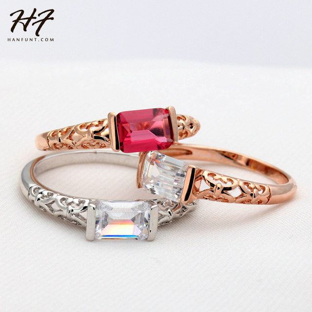 Simple Lady Style Imitation Red CZ Rings Rose Gold Color Fashion Brand Retro Crystal Jewelry For Women Xmas Gift R367 R368