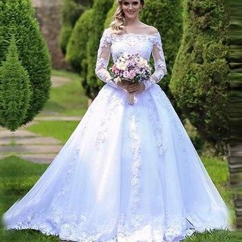 Long Sleeves Lace Vestido De Noiva Bride Gown Custom-made Plus Size Wedding Dress 2019 White Long robe de mariee casamento