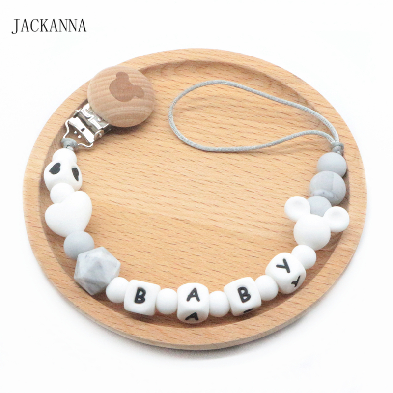 Personalise Name Baby Pacifier Chain Mouse Head Soother Chain Eco-friendly Attache Sucette DIY Baby Pacifier Clips Holder Chain