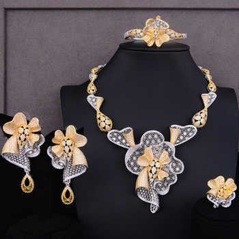 GODKI Luxury Flower Nigerian Charms Jewelry sets For Women Wedding Cubic Zircon CZ Dubai Gold Bridal Jewelry Set 2019 - DISCOUNT ITEM  32% OFF All Category