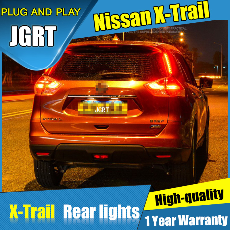 4PCS Car Styling for Nissan X-Trail Tail Lights2014-2015 for X-Trail  LED Tail Lamp+Turn Signal+Brake+Reverse LED light car styling tail lights for toyota highlander 2015 led tail lamp rear trunk lamp cover drl signal brake reverse
