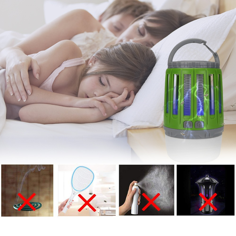 2 In 1 USB Rechargeable LED Mosquito Killer Lamp High/Low Light 360-400NM UV Mosquito Zapper Light For Bedroom, Garden,Camping