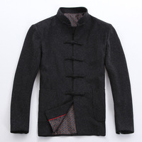Winter New Chinese Tunic Suit Tops Men Wool Thick Jacket Apec Leader Costume Vintage Button Coat