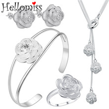 Fashion Silver Jewelry Sets for Women Flower Pendant Necklace+Earrings+Bangle 3 Pcs Costume Jewelry Set Women Accessories Bijoux dazz special design lily flower shape wide bangle ring sets three tones color copper jewelry set full rhinestones wedding bijoux
