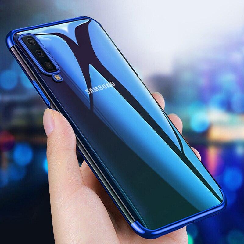 Pour Samsung Galaxy A7 2018 étui placage Transparent étui pour Samsung souple Galaxy A 7 coque arrière pour Samsung Galaxy A7 2018
