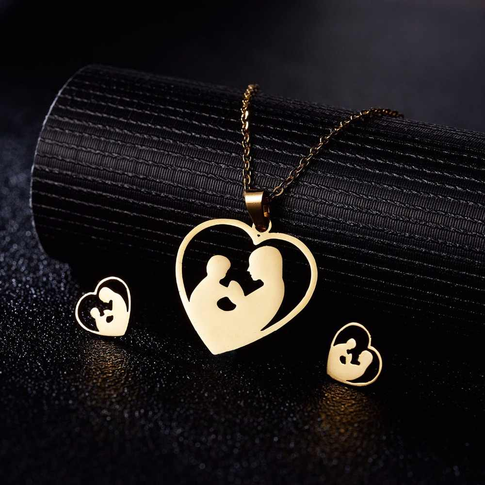 Rinhoo Fashion Hollow Mother and child Necklace Women Jewelry Set Stainless Steel Cute Animal Necklaces & Earrings Girl Kid Gift
