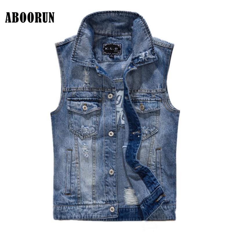 ABOORUN Korean Mens Skinny Denim Vest Retro Letters Embroidery Jeans Waistcoat Mens Slee ...