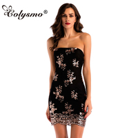 Colysmo Sexy Halter Tied Rope Bag Hip Dress Mini Sequined Embroidered Sleeveless Tube Top Dresses Women Party Vestidos 2018 New
