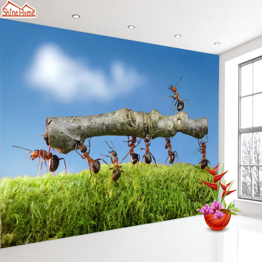 Shinehome Trabalho Em Equipe Formigas Animal C U Azul 3d 3 D Sala  -> Papel De Parede Para Sala Rock N Roll