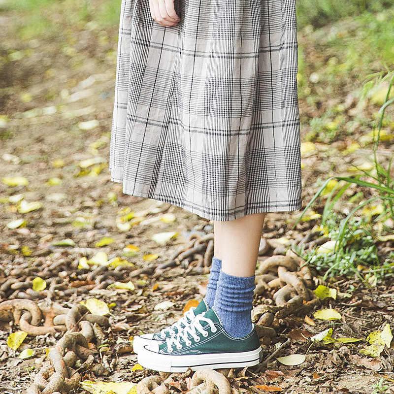 CHAOZHU, Otoño Invierno, lana gruesa, calcetines de colores sólidos básicos cálidos, calcetines de colores Rib sueltos apilados básicos, Calcetines para mujeres
