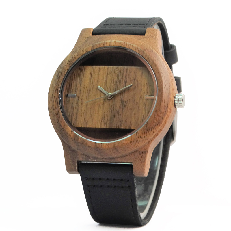 Top Brand Walnut Wooden Watch For Men And Women Best Gifts With Black Genuine Leather Fashion Clock In Box