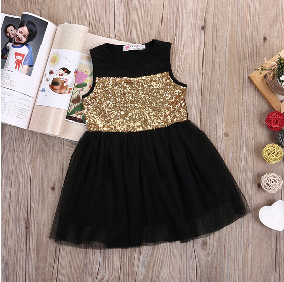 New Baby Kids Girls Toddler Princess Dresses Clothing Pageant Party Black Sequined Lace Mini Gold Formal Clothes Girl Dress 3