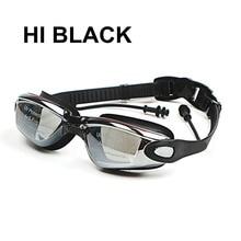 プロシリコーン近視スイミングゴーグル防曇uv水泳メガネ男性の女性のため耳栓と視度スポーツ眼鏡
