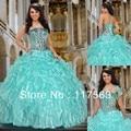 Top3 brilhante bola vestido strapless frisado corset corpete organza vestido quinceanera turquesa CR019