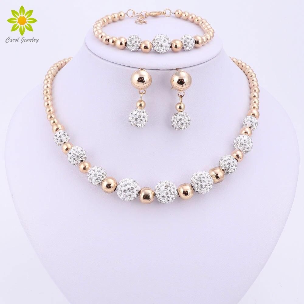 באיכות גבוהה זהב צבע תכשיטי סט ניגרי חרוזים אפריקאים תלבושות תכשיטי צמיד עגיל שרשרת