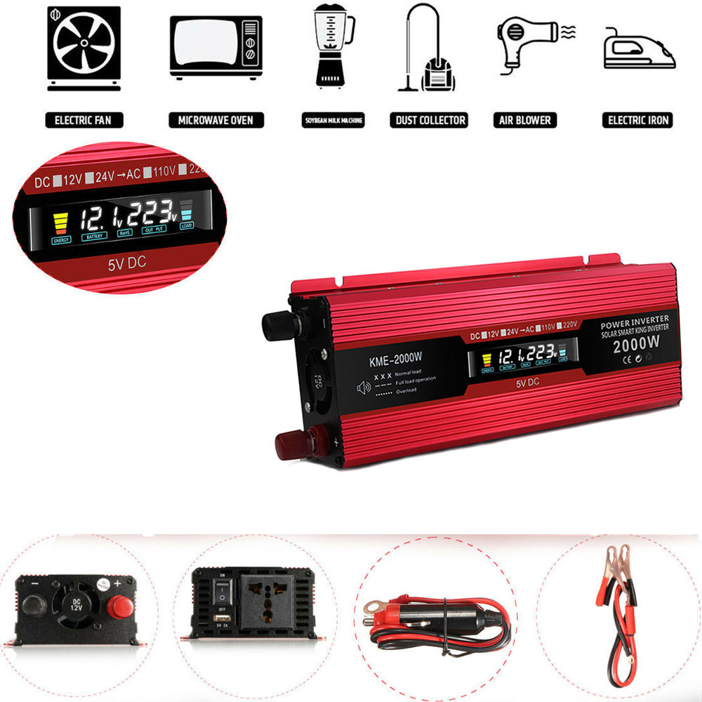 DC12V-24V LCD Inverter 6000 W energia słoneczna 50 HZ konwerter zasilania wzmacniacz do falownik samochodowy gospodarstwa domowego DIY falownik samochodowy papieros nowy