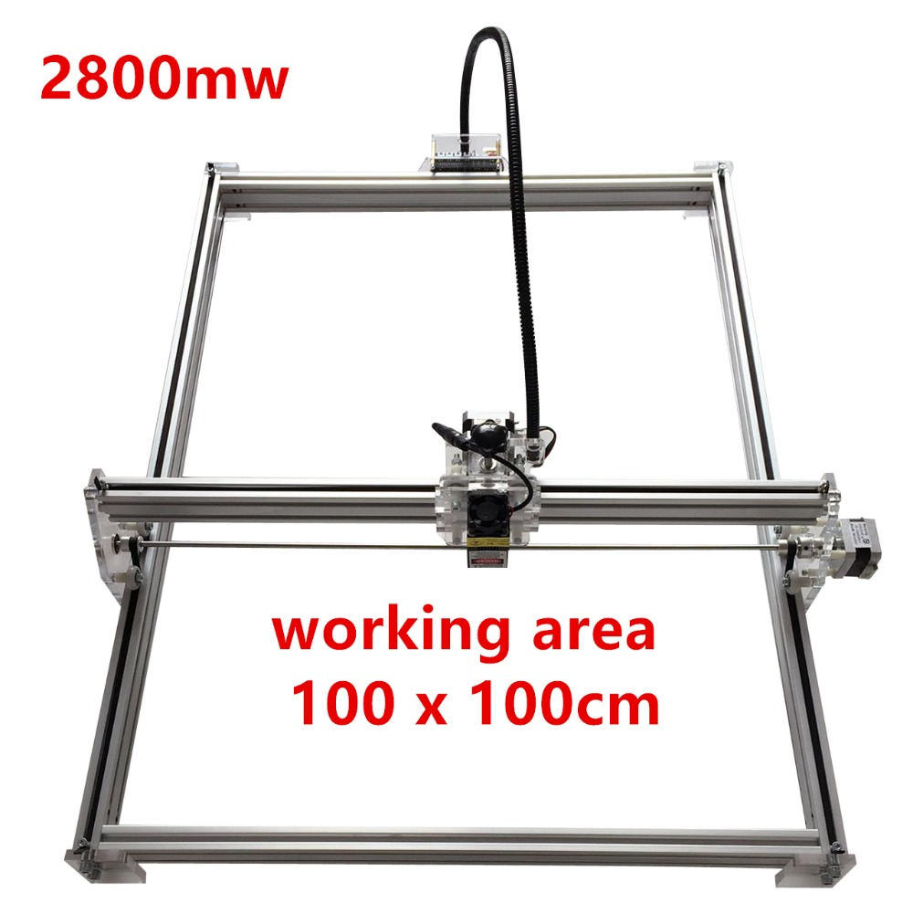2800mw Mini desktop DIY Laser engraving engraver cutting machine Laser Etcher CNC print image of 100*100cm big working area