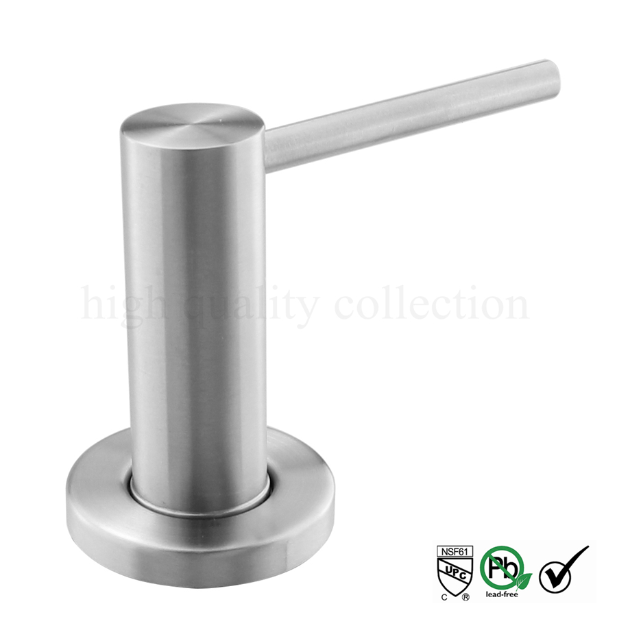 Solid 304 Brushed Stainless Steel Kitchen Sink Liquid Soap Dispenser Spot Head 17 OZ 500ML Bottle