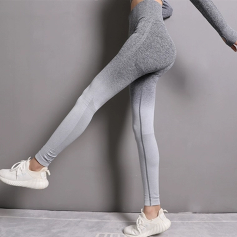 Seamless High Waist Quick-Drying Breathable Stretch Trousers Fitness Push Up Female Pants Gradient Color Elastic   Leggings