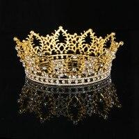 Stonefans Women Rhinestone Large Round Crown Gold for Bride Queen New Fashion Baroque Luxury Crystal Crown Wedding Headdress