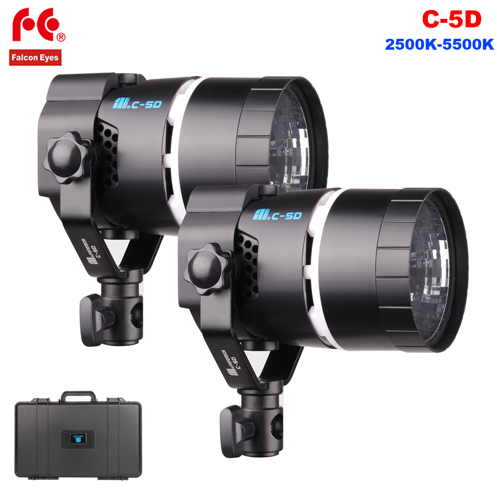 FalconEyes C-5D 50W LED Video Light Bi-Color Dimmable 2500K-5500K Camera Photography Light Lamp For Studio Video Film Shooting