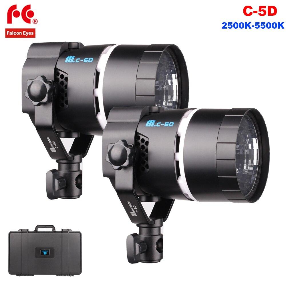 FalconEyes C-5D 50 W LED lumière vidéo bi-couleur Dimmable 2500 K-5500 K caméra photographie lampe de lumière pour Studio vidéo Film tournage