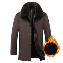 Autumn Winter New Thicker Fleece Warm Male Jacket Medium Long Fur Collar Men Woolen Trench Coat Plus size 4XL jaqueta masculina