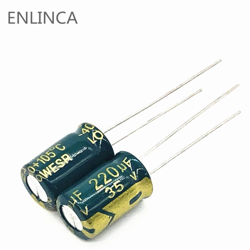 12pcs/lot Q09 Low ESR/Impedance High Frequency 35v 220UF Aluminum Electrolytic Capacitor Size 8*12 220UF35V 20%