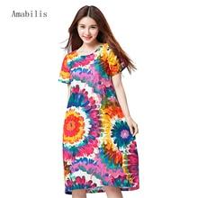 Amabilis 2017 Fashion Harajuku loose Casual dress section printing elegant women high quality original dress