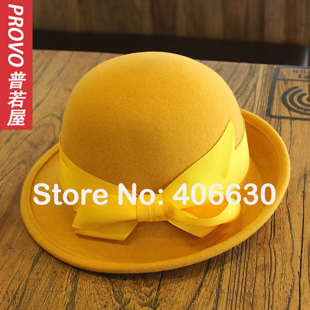 0b11ec3931674 Winter Yellow Wool Bucket Hats Women Felt Bowler Caps Female Derby Chapeau  Fedoras Free Shipping PWFR
