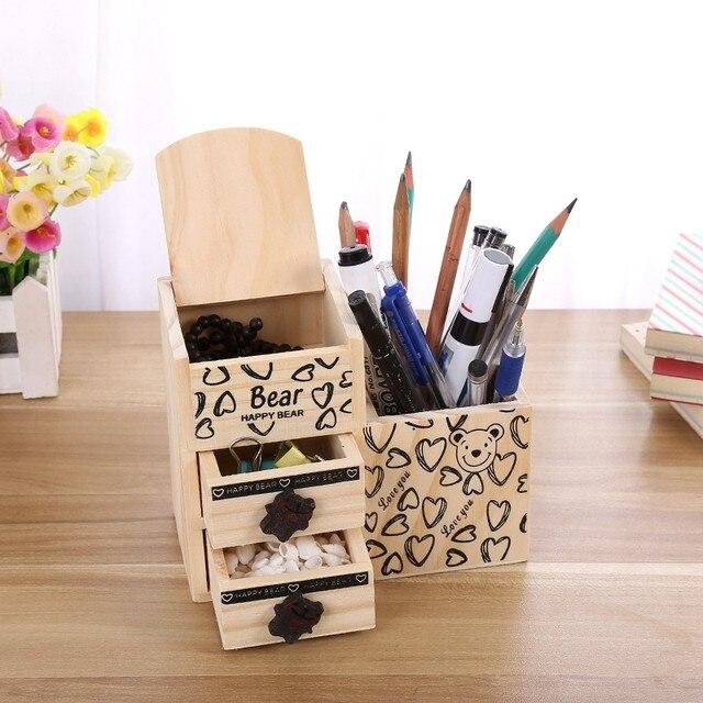 Bear Wooden Pen Holder Kawaii Desk Tidy Organizer Pencil Holder Cute Anime  Cartoon Desktop Pen Pot Creative Office Accessories