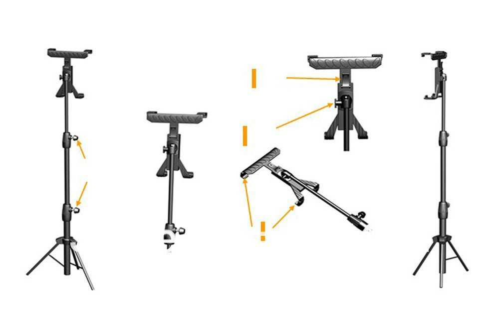 Adjustable Tripod Presentation/Music Stand for iPad, iPad2
