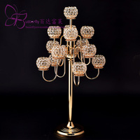 Crystal Beaded Ball 13 Arm Gold or Silver PRESTIGEGlobe CANDELABRA 38tall centerpieces