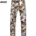 Новый 2017 Весна и Зима Новый мужчин джинсы Брюки Узкие Джинсы Мужчины марка известный Slim fit Окрашены Змеиной Печати 3D брюки MYA0037