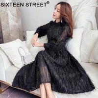 Spring new tassel feather fairy woman dress long sleeve pink black show slim sweet long dresses lady party elegant wear