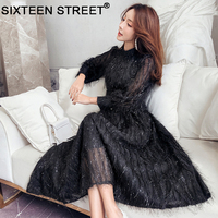 Spring new tassel feather fairy woman dress long sleeve pink black show slim sweet long dresses lady party elegant wear