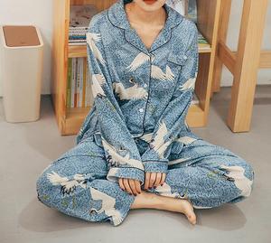 Image 2 - Autumn&Winter Womens Pajamas Set 100% Cotton Korean Long Sleeve Sweet Loose Sweaters Women Sexy Sleepwear Cartoon Pyjamas Sets
