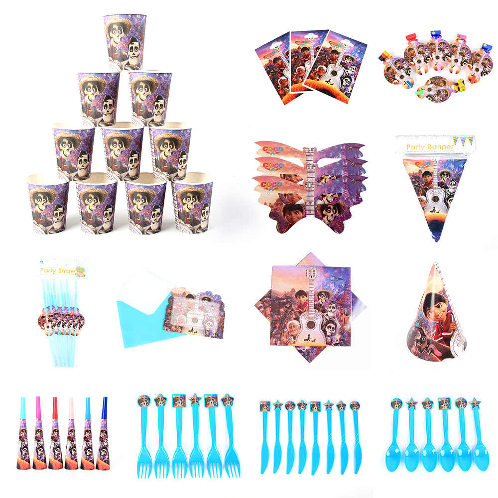 Set di stoviglie per feste per bambini miccayhuitl COCO forniture per feste ake kids Birthday Party Decoration tazza di carta