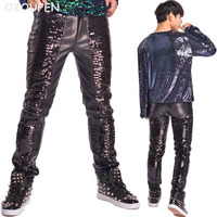 2018 New Black Sequins Leather Pants Punk style Male Slim Pants nightclub singer dj stage perforance dance trousers