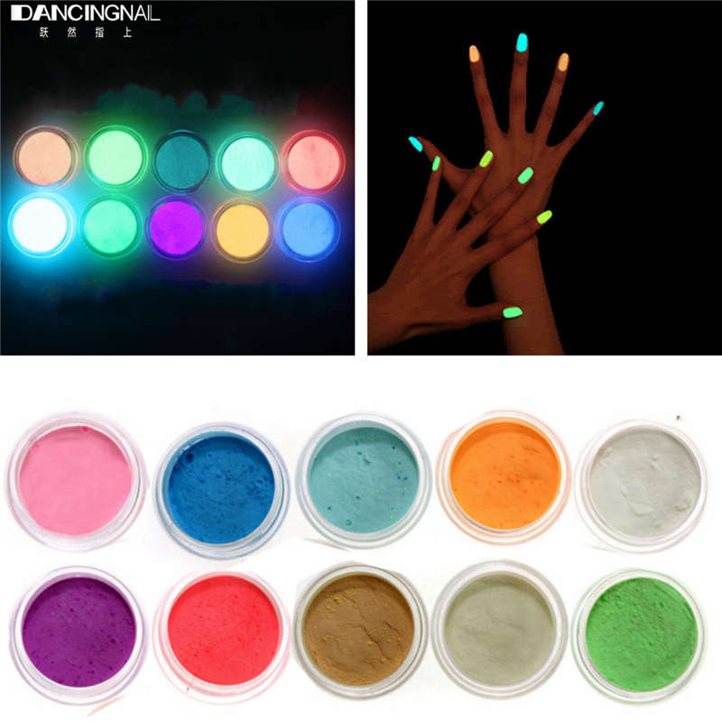 Aliexpress 10colors Neon Acrylic Nail Art Fluorescent Luminescent Glitter Tip Powder Sand Glow In Dark 3d Salon Nails Diy Design Decoration From