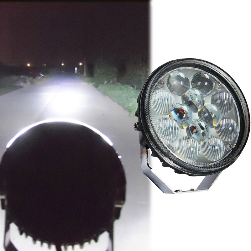 36W Car Round LED Work Light IP67 Waterproof Combo Light Aluminium Bumper Dome Roof Headlight for Offroad Truck Vehicle DC12-24V