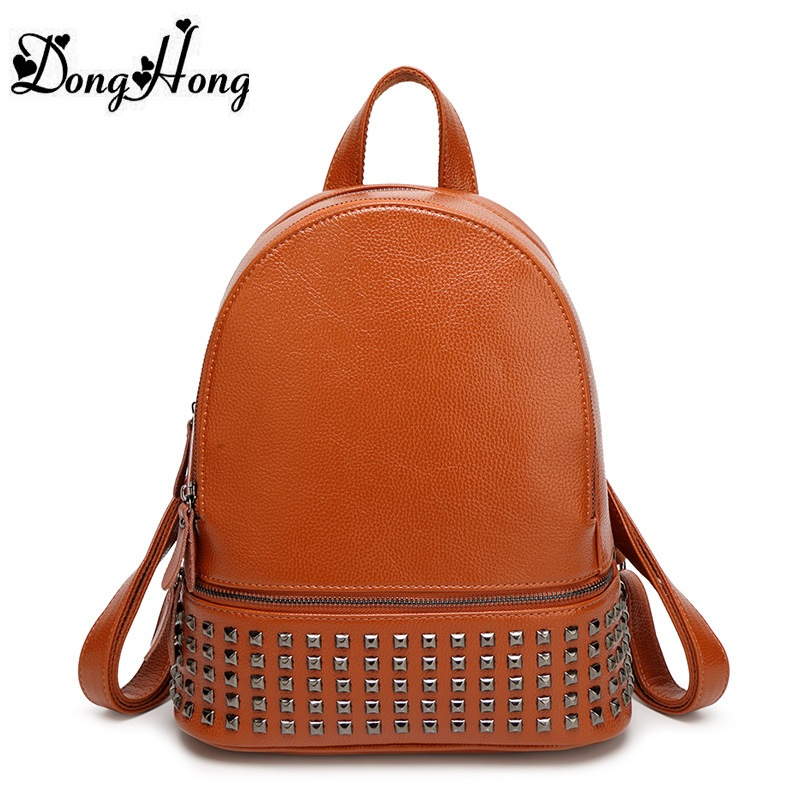 Designer Women s Backpacks Genuine Leather Female Backpack Women School Bag For Girls Rivets Capacity Shoulder