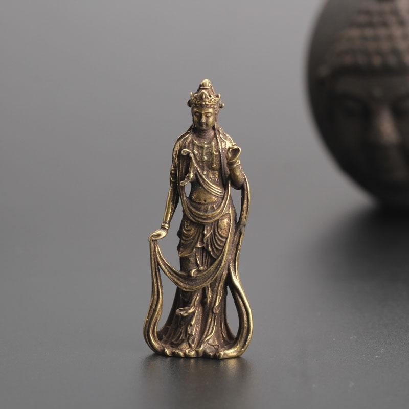 4 cm China Temple Pure Copper Bronze Monk Buddhist  Lucky Statue