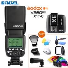 Godox V860II-C Speedlite GN60 HSS 1/8000 s TTL Flash Licht + X1T-C Wireless Transmitter + Flash Diffusor Reflektor für Canon Kamera