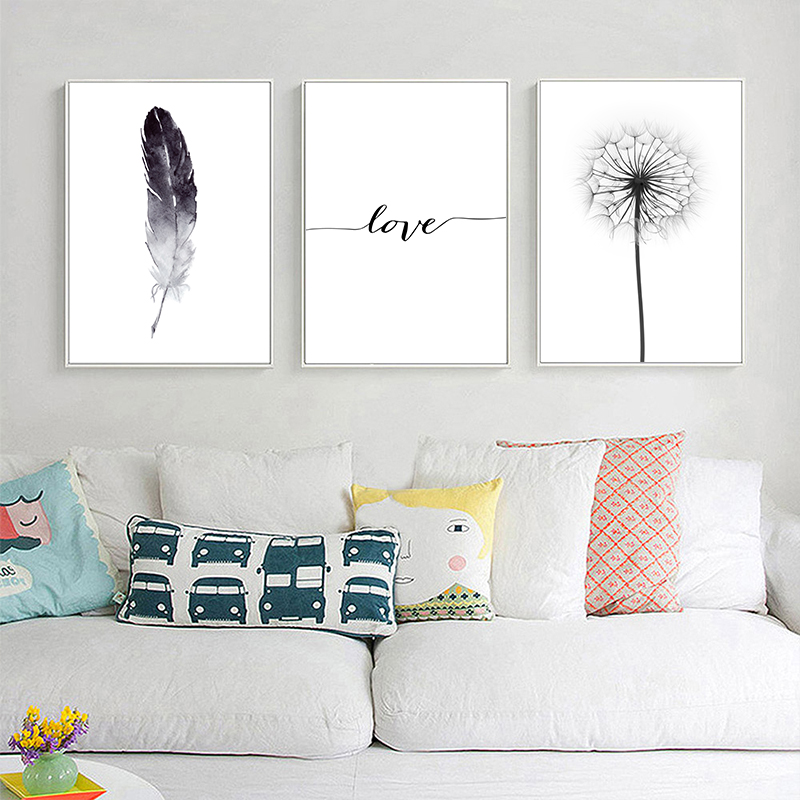 Black and White Dandelion Feathers Poster and Print Letter Love Wall Artwork Canvas Portray Residence Image Wall Ornament Portray & Calligraphy, Low-cost Portray & Calligraphy, Black and White Dandelion...