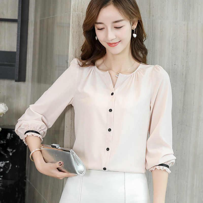 春 2019 韓国女性の白シャツ長袖 V ネックシャツ秋の女性のストリートスリムシフォンブラウスエレガントな女性トップス