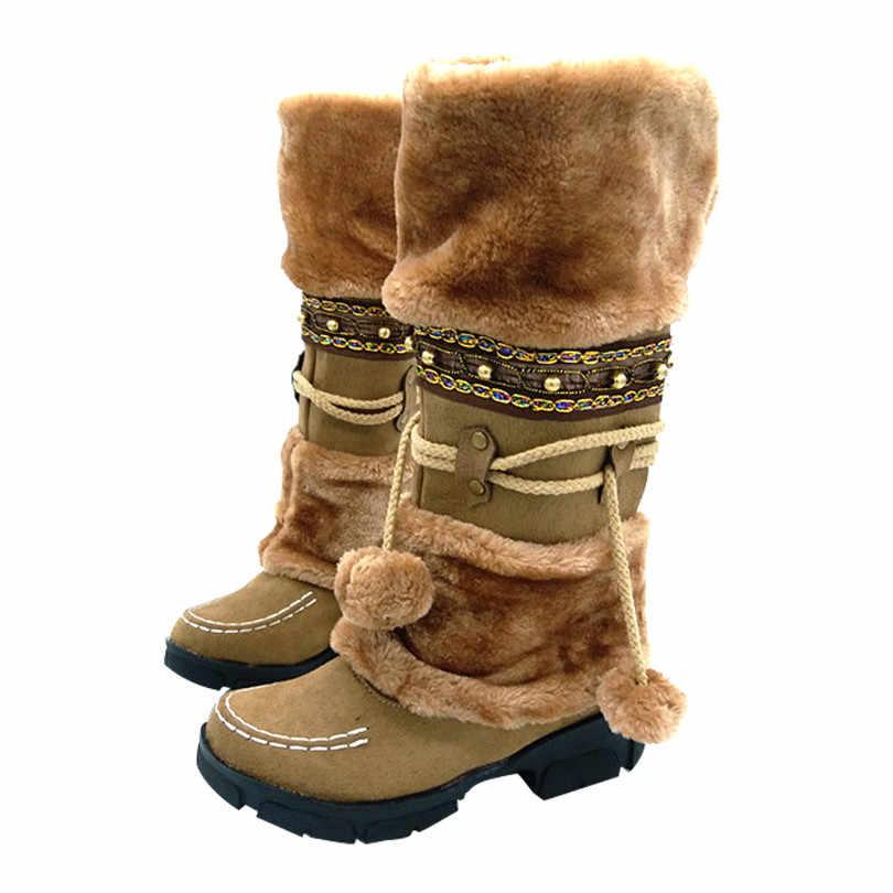 LIN KRAL Yeni Moda Sonbahar Kış Kar Botları Kadın Sıcak Akın Bayan Botları Rahat Püskül Platformu Diz Bayan kar ayakkabıları