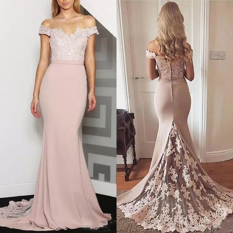 2019 Off Shoulder Mermaid Bridesmaids Dresses Lace Appliques Plus Size Formal Maid Of Honor Gowns Custom Vestidos De Bridesmaid