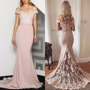 2019 Off Shoulder Mermaid Bridesmaids Dresses Lace Appliques Plus Size Formal Maid of Honor Gowns Custom Vestidos De Bridesmaid